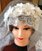 White, Oval, Lace Veil