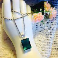 Square Emerald Green Crystal Pendant