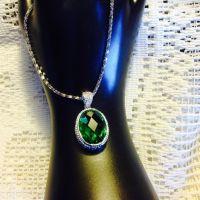 Oval Emerald Green Crystal Pendant
